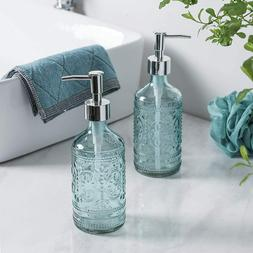 Bathroom Accessory Embossed Glass Soap/Lotion Dispenser Bott