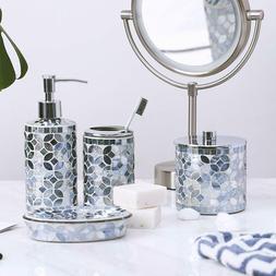 4PC Blue Mosaic Glass Bathroom Accessory/Accessories Set w S
