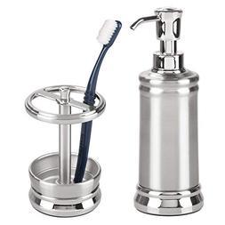 mDesign Bathroom Accessory Set for Vanity, Soap Dispenser, T