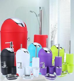 6Pcs Bathroom Accessory Set Bin Soap Dish Dispenser Tumbler