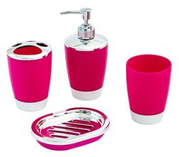 JustNile 4-Piece Compact Rose and Chrome Bathroom Accessory