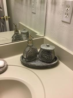 nicole miller bathroom set silver tissue holder soap dispens