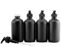 Cornucopia Brands Black Coated 8-Ounce Glass Pump Bottles ,