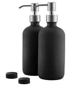 16oz Black Glass Bottles w/Stainless Steel Pumps ; Black Coa