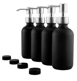 8oz Black Glass Bottles w/ Stainless Steel Pumps; Black Coat