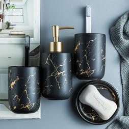 Black White Marble Ceramic Bathroom Accessories Set Toothbru