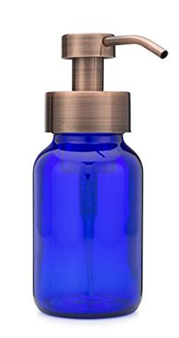 Blue Glass Apothecary Foaming Soap Dispenser Metal Pump with