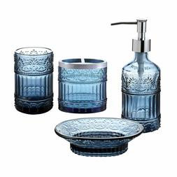 4PC Blue Clear Class Bathroom Accessory/Accessories Set  w S
