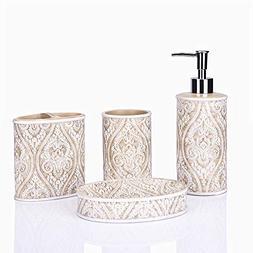 GreenDisplay Carved Beige Bath Fashions 4-Piece Bath Ensembl
