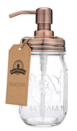 Classic Farmhouse Mason Jar Soap Dispenser - Copper