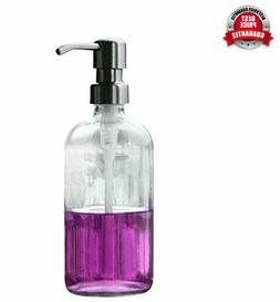 Industrial Rewind Clear 8oz Glass Soap Dispenser with Stainl