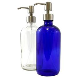 Clear & Cobalt Blue 16-Ounce Glass Bottles with Stainless St