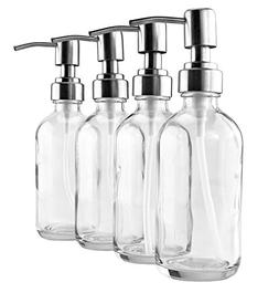 8-Ounce Clear Glass Boston Round Bottles w/Stainless Steel L