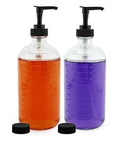 Cornucopia Brands 16-Ounce Clear Glass Pump Bottles with Mea