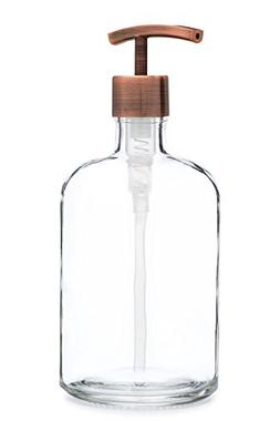Rail19 Large Clear Glass Soap Dispenser with Modern Metal So