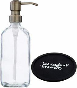 Industrial Rewind Clear Soap Dispenser/ 8oz Glass Bottle wit