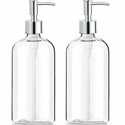 Clear Soap Dispenser with Rust Proof Pump 2 Pack,16 Oz Soap