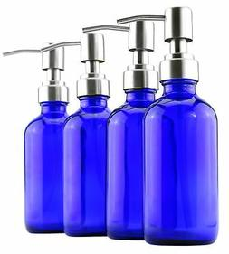 8-Ounce Cobalt Blue Glass Bottles w/ Stainless Steel Lotion