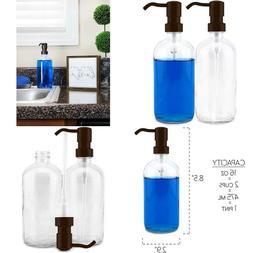 Cornucopia 16oz Glass Soap Dispensers with Bronze Pumps ; Cl