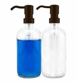 cornucopia 16oz glass soap dispensers with bronze