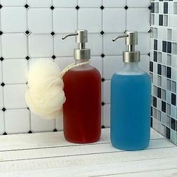 Cornucopia Frosted Glass Soap Lotion Oil Dispenser w/Stainle