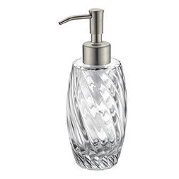 Delle Rosa Countertop Glass Soap Dispenser Brushed Nickel Cl