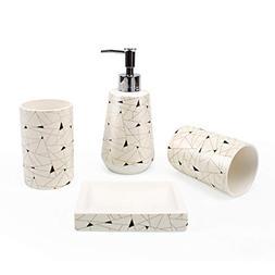 YALONG 4-Piece Cream Beige Modern Ceramic Bathroom Accessori