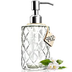 Crystal Bath Room Vanity Lotion Dispenser Pump Clear Glass S