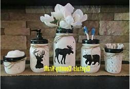 Deer, bear, moose bathroom set, soap dispenser, toothbrush h