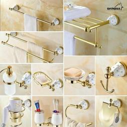 Diamond Stars Bathroom Accessories Sets Crystal Brass Gold B