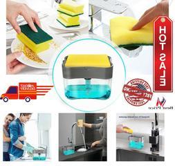 Dishwashing Dish Soap Dispenser Sponge Holder 2 in1 Countert