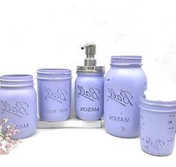 Distressed Purple Mason Jar Soap Dispenser Country Bathroom