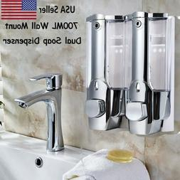Dual Head Wall Mount Shower Bath Washing Lotion Soap Shampoo