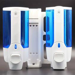 Dual Head Wall Mount Soap Dispenser Liquid Hand Wash Bathroo
