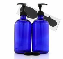 Cornucopia Brands 16-Ounce Cobalt Blue Glass Bottles w/Lotio