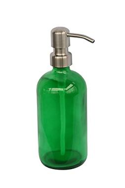 executive style green glass soap dispenser