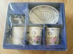 Floral Ceramic Bathroom Accessories Set Soap Dish, Dispenser