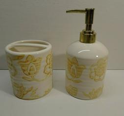 Threshold Floral Yellow Ceramic Soap Dispenser & Toothbrush