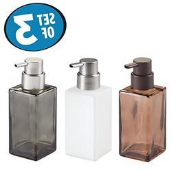 mDesign Foaming Glass Soap Dispenser Pump, Three-Piece Bathr