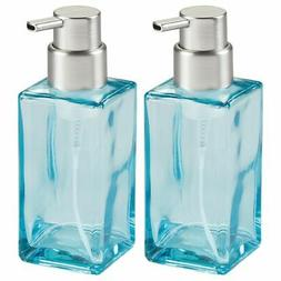 mDesign Modern Square Glass Refillable Foaming Hand Soap Dis