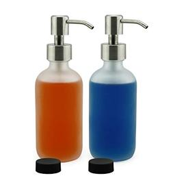 frosted glass soap dispenser w