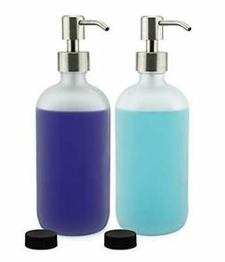 Cornucopia Brands Frosted Glass Soap Dispenser w/Stainless S