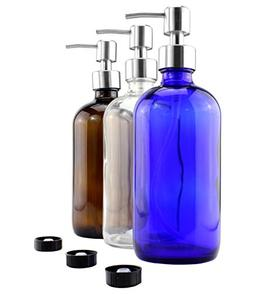 16oz Glass Bottles w/ Stainless Steel Pump Dispensers - Thre
