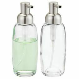 mDesign Glass Liquid Soap Dispenser Pump Bottle for Kitchen
