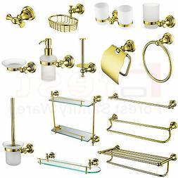 Gold Bathroom Accessory Towel Rail Rack Bar Paper Tissue Soa
