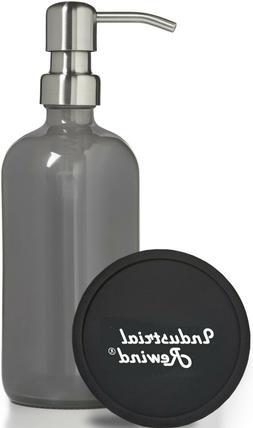 Gray Grey Soap Dispenser 8oz Glass Soap Dispenser with Metal