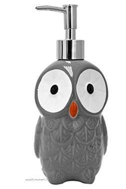 American Chateau Grey Owl Shaped Ceramic Soap Dispenser Loti
