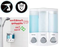 Hand Soap Shower Dispenser Wall Mount Triple Chamber lotion