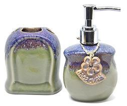Set of 2 Handicraft Porcelain Ceramic Hand Soap Dispenser Pu