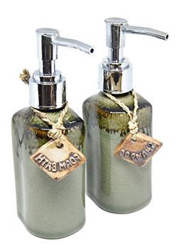 Set of 2 Handicraft Porcelain Ceramic Shampoo Pump Soap Disp